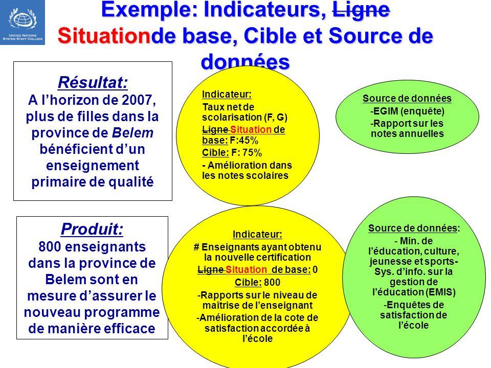 Exemple: Indicateurs, Ligne Situationde base, Cible et Source de données