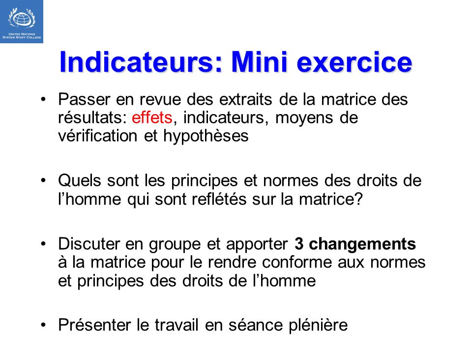 Indicateurs: Mini exercice