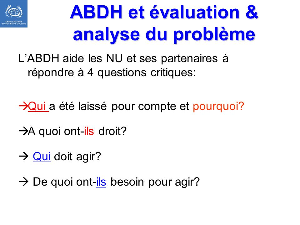 ABDH et évaluation & analyse du problème