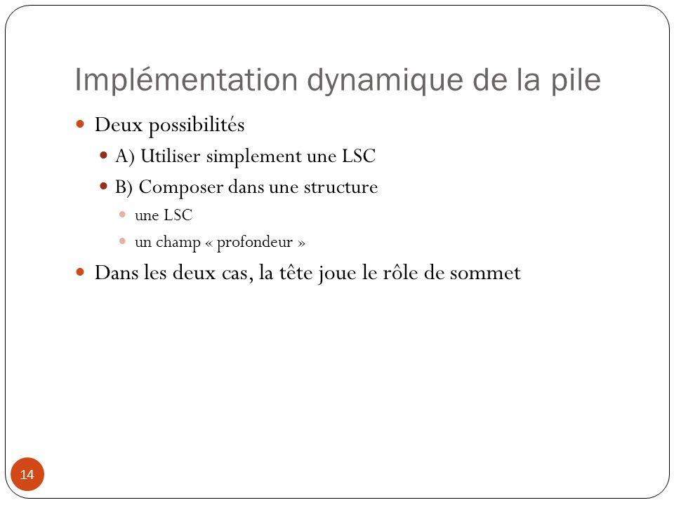 Implémentation dynamique de la pile