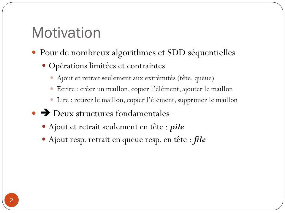 Motivation Pour de nombreux algorithmes et SDD séquentielles
