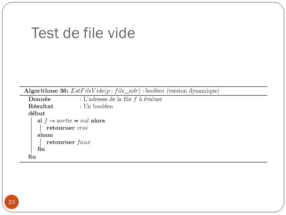 Test de file vide