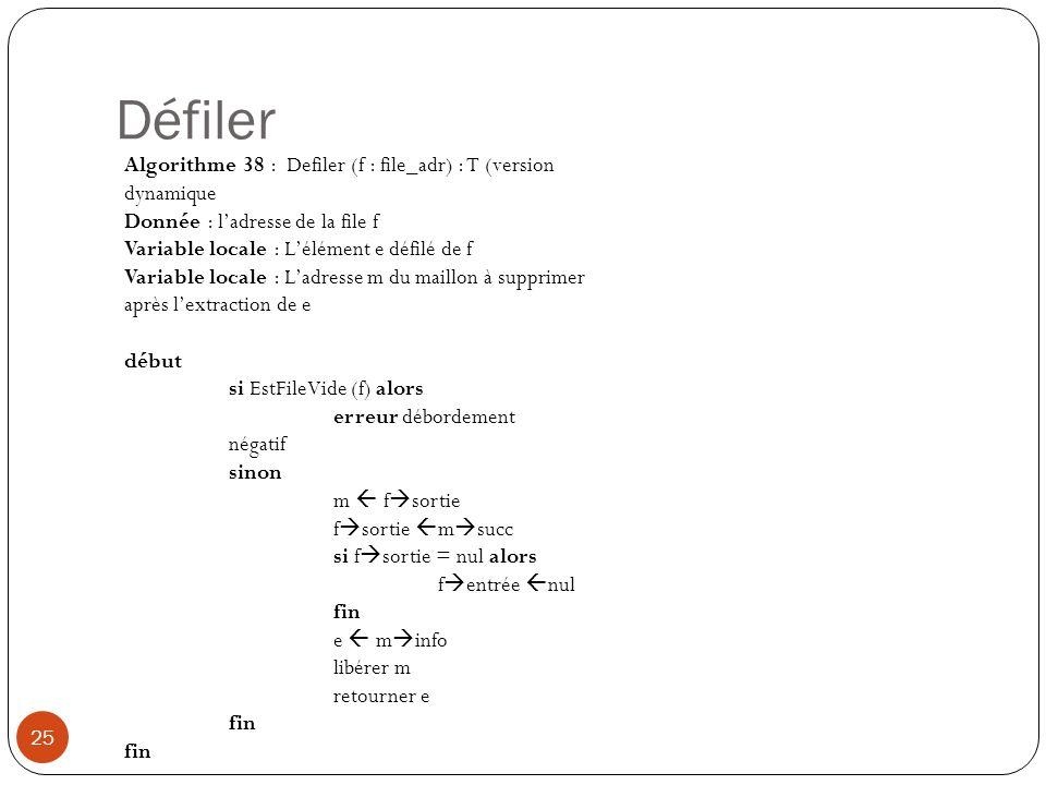 Défiler Algorithme 38 : Defiler (f : file_adr) : T (version dynamique