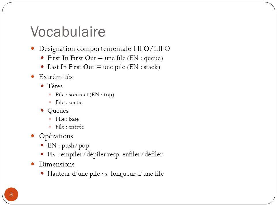 Vocabulaire Désignation comportementale FIFO/LIFO Extrémités