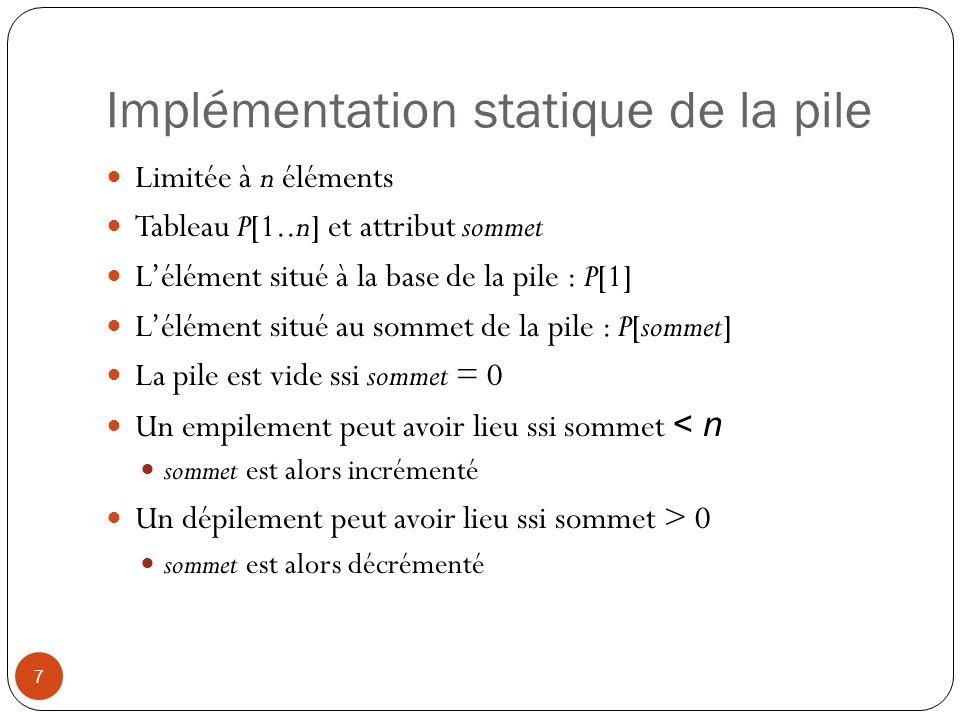 Implémentation statique de la pile