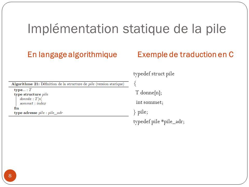 Implémentation statique de la pile