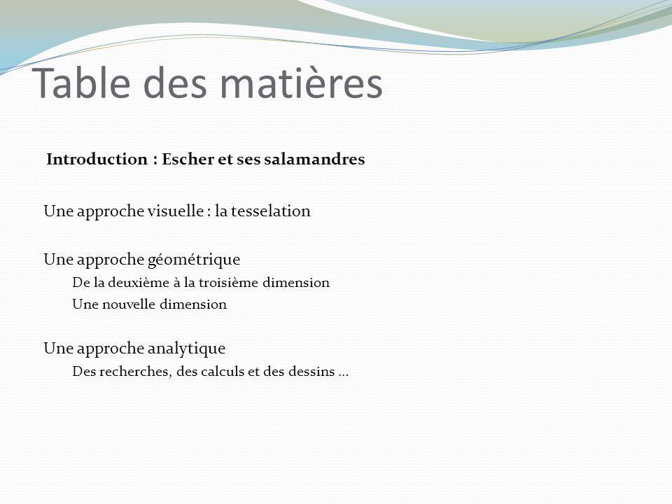Table des matières Introduction : Escher et ses salamandres