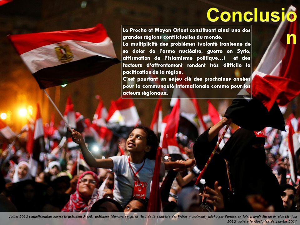 Conclusion Le Proche et Moyen Orient constituent ainsi une des grandes régions conflictuelles du monde.
