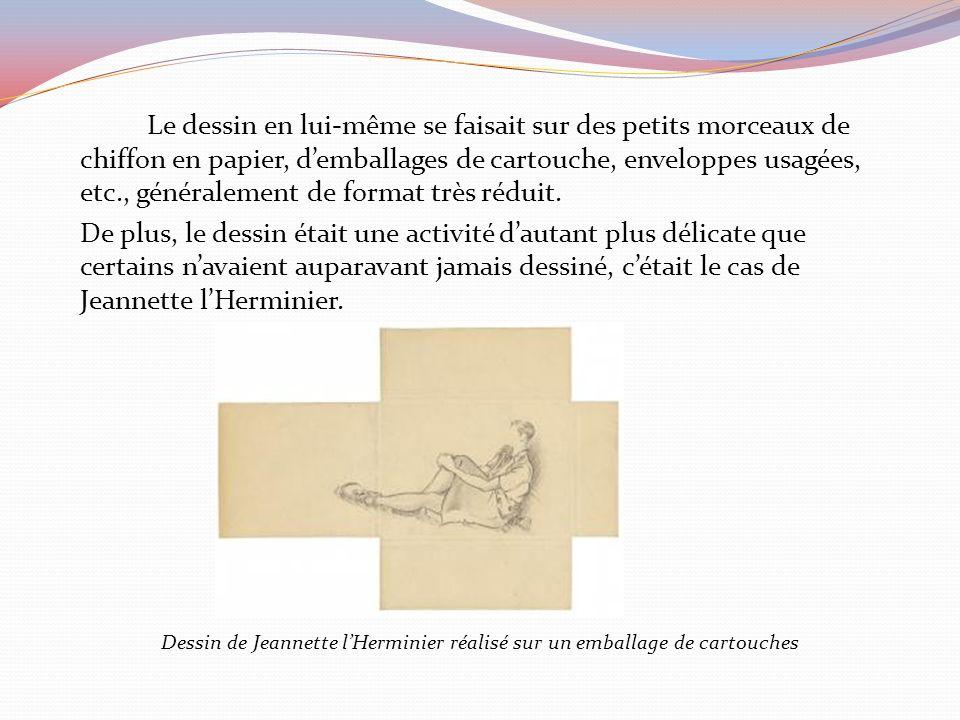 Dessin de Jeannette l'Herminier réalisé sur un emballage de cartouches
