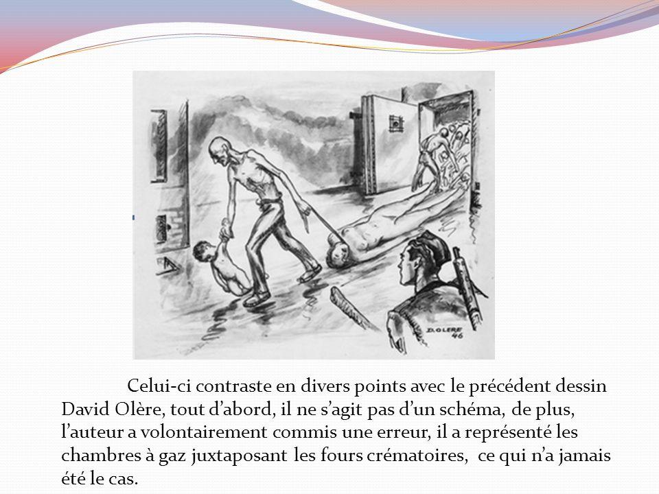 Celui-ci contraste en divers points avec le précédent dessin David Olère, tout d'abord, il ne s'agit pas d'un schéma, de plus, l'auteur a volontairement commis une erreur, il a représenté les chambres à gaz juxtaposant les fours crématoires, ce qui n'a jamais été le cas.