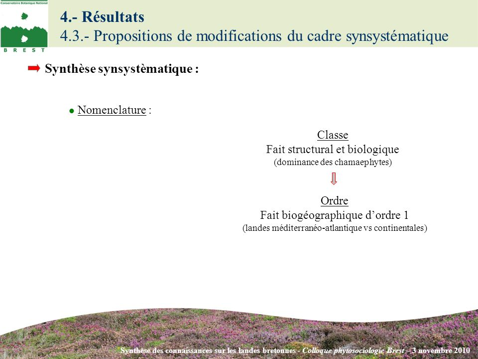4.- Résultats 4.3.- Propositions de modifications du cadre synsystématique