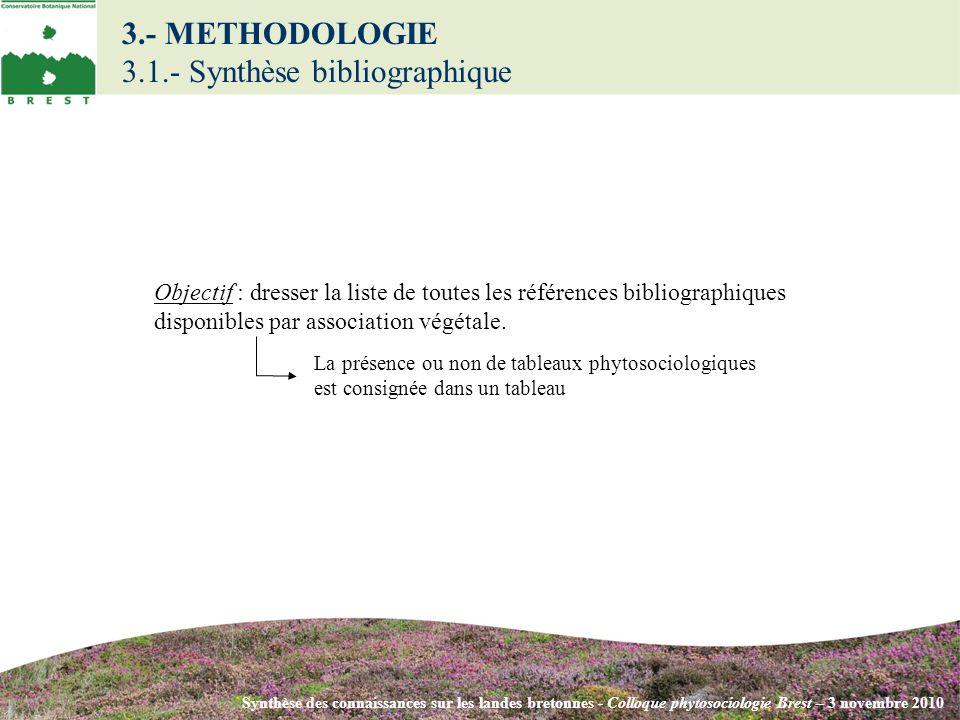 3.- METHODOLOGIE 3.1.- Synthèse bibliographique