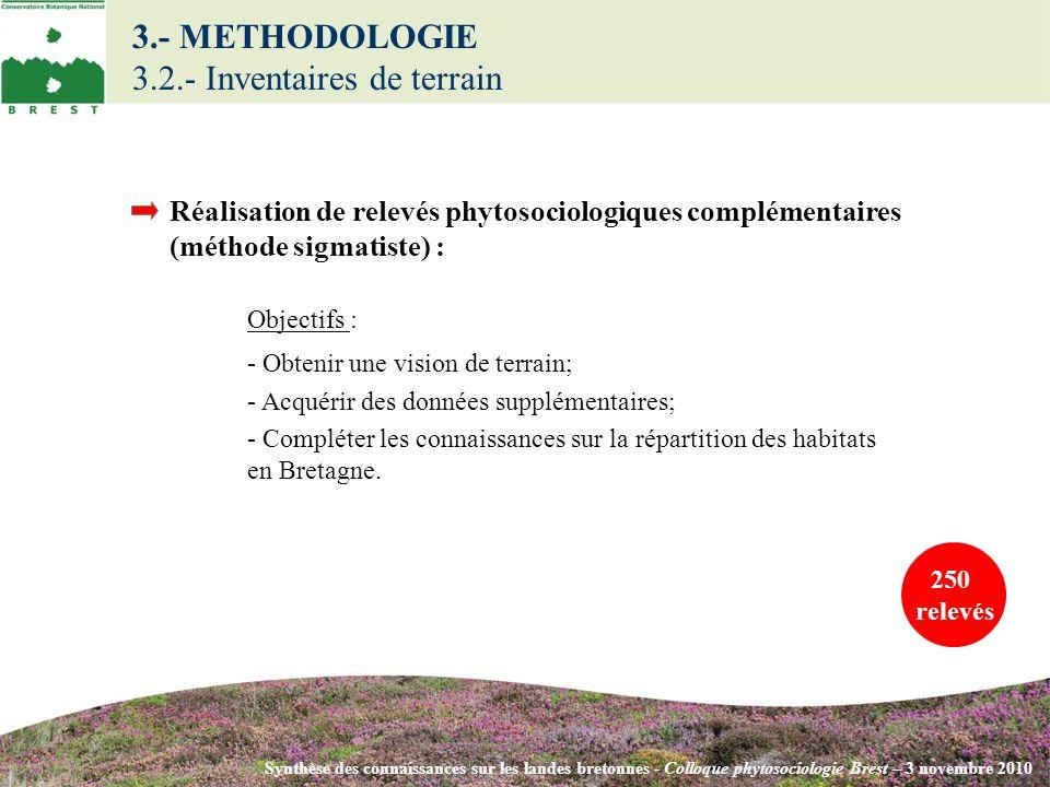 3.- METHODOLOGIE 3.2.- Inventaires de terrain