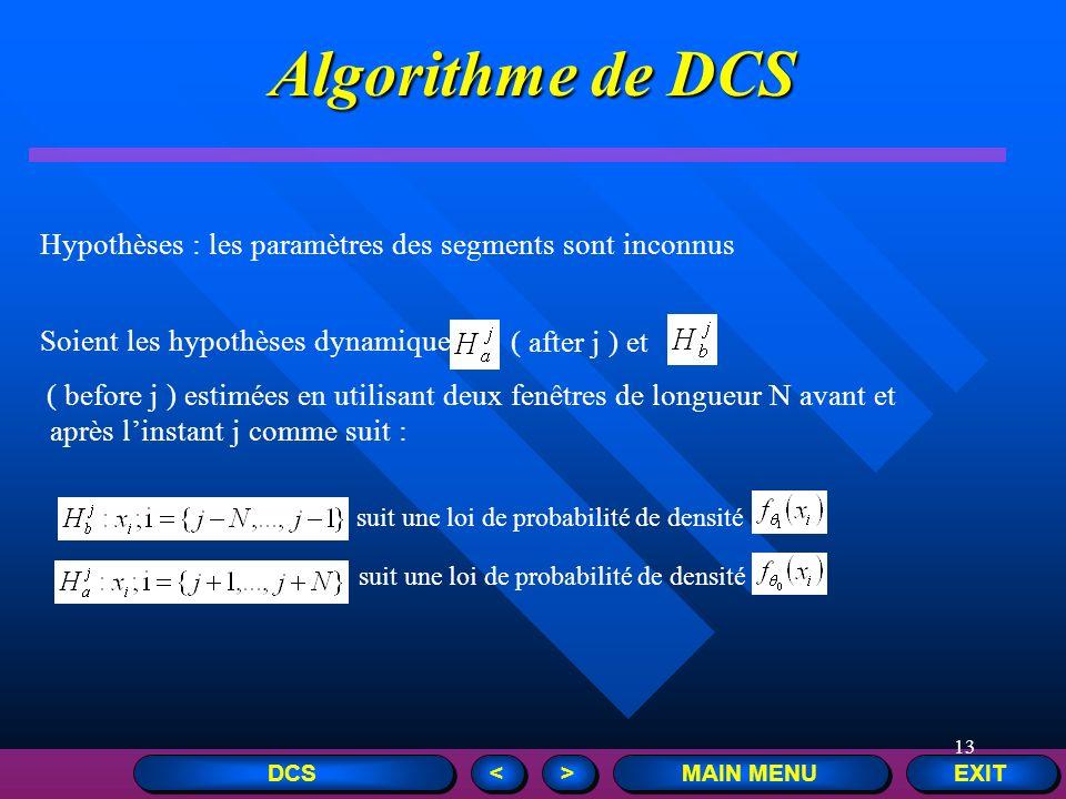 Algorithme de DCS Hypothèses : les paramètres des segments sont inconnus. Soient les hypothèses dynamiques.