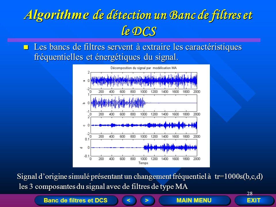 Algorithme de détection un Banc de filtres et le DCS