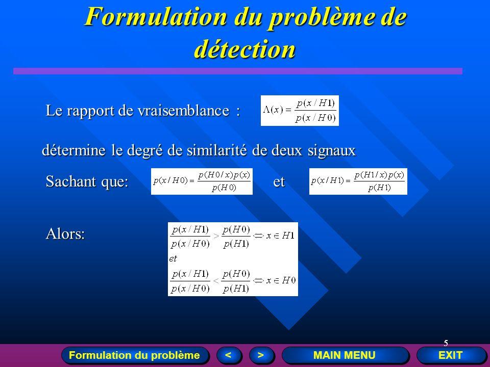 Formulation du problème de détection Formulation du problème
