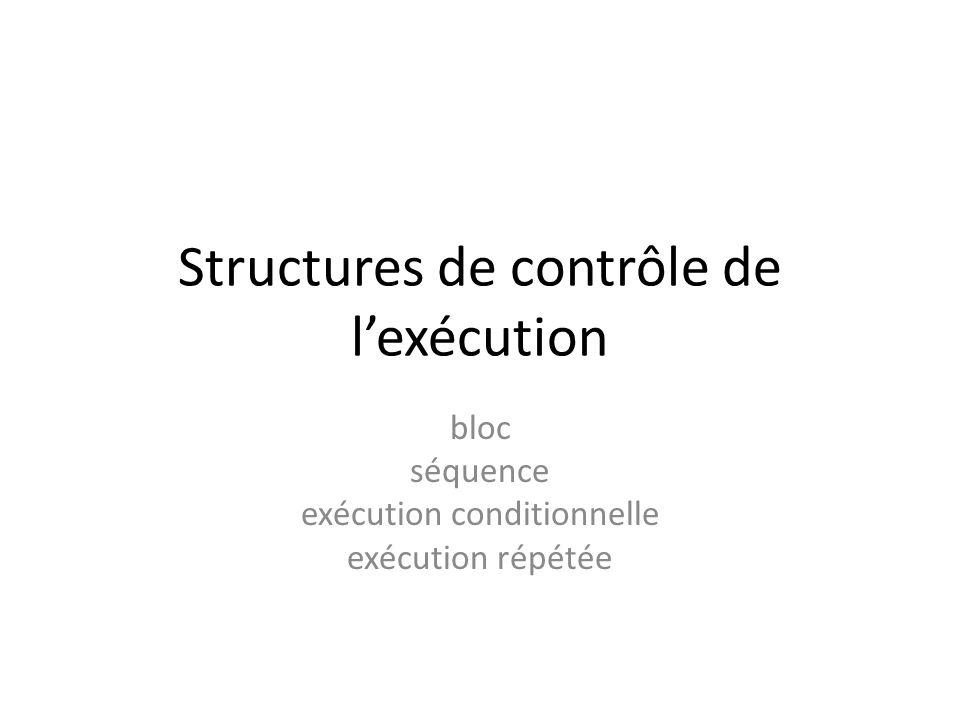Structures de contrôle de l'exécution