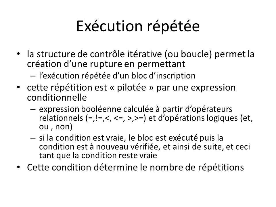Exécution répétée la structure de contrôle itérative (ou boucle) permet la création d'une rupture en permettant.