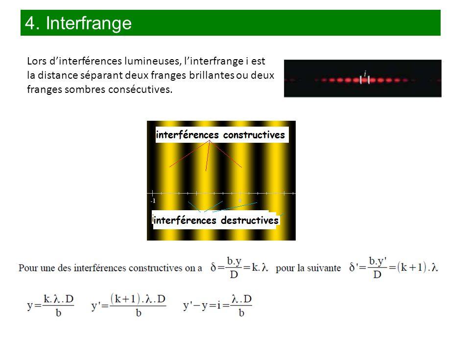 4. Interfrange Lors d'interférences lumineuses, l'interfrange i est