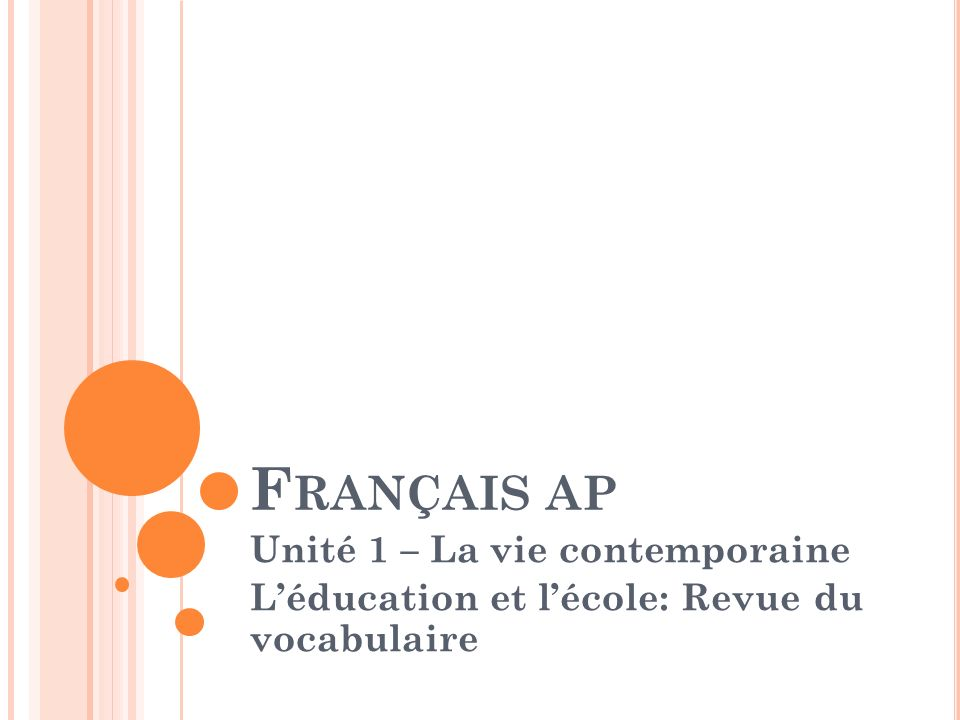 Français ap Unité 1 – La vie contemporaine