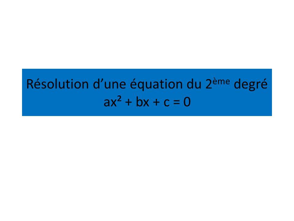 Résolution d'une équation du 2ème degré ax² + bx + c = 0