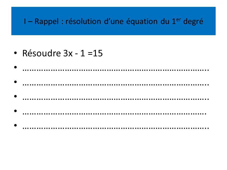 I – Rappel : résolution d'une équation du 1er degré