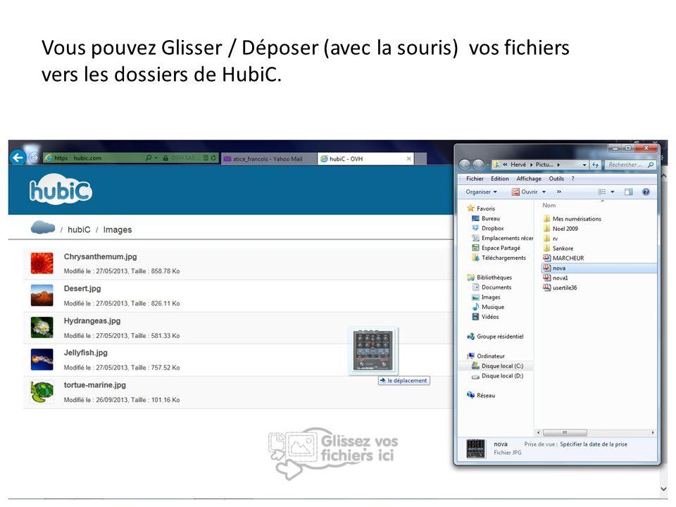 Vous pouvez Glisser / Déposer (avec la souris) vos fichiers vers les dossiers de HubiC.