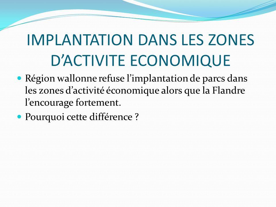 IMPLANTATION DANS LES ZONES D'ACTIVITE ECONOMIQUE