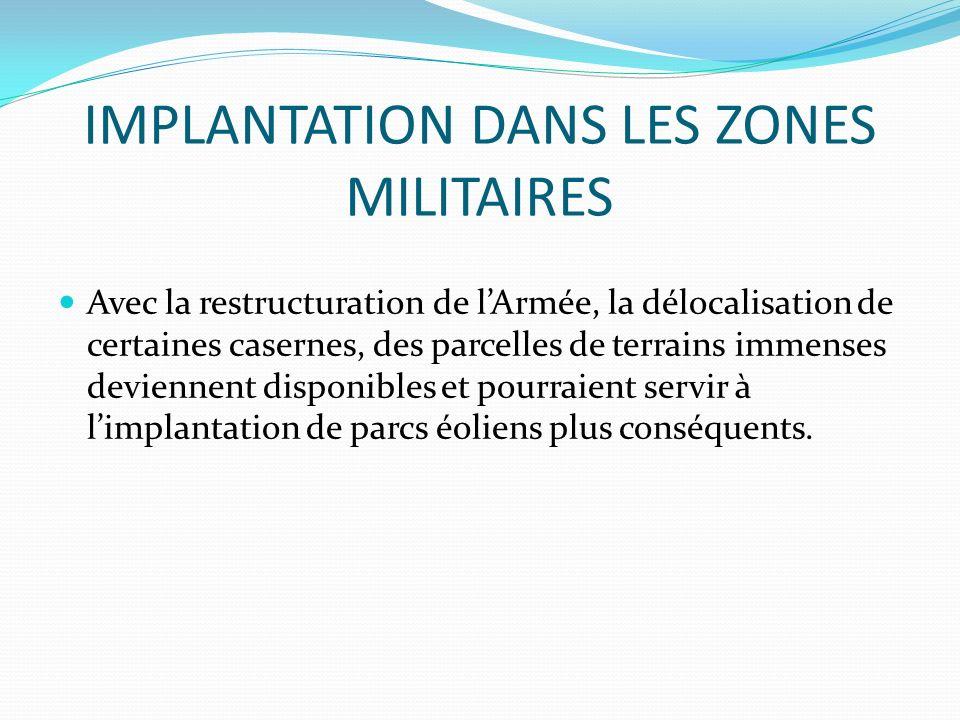 IMPLANTATION DANS LES ZONES MILITAIRES