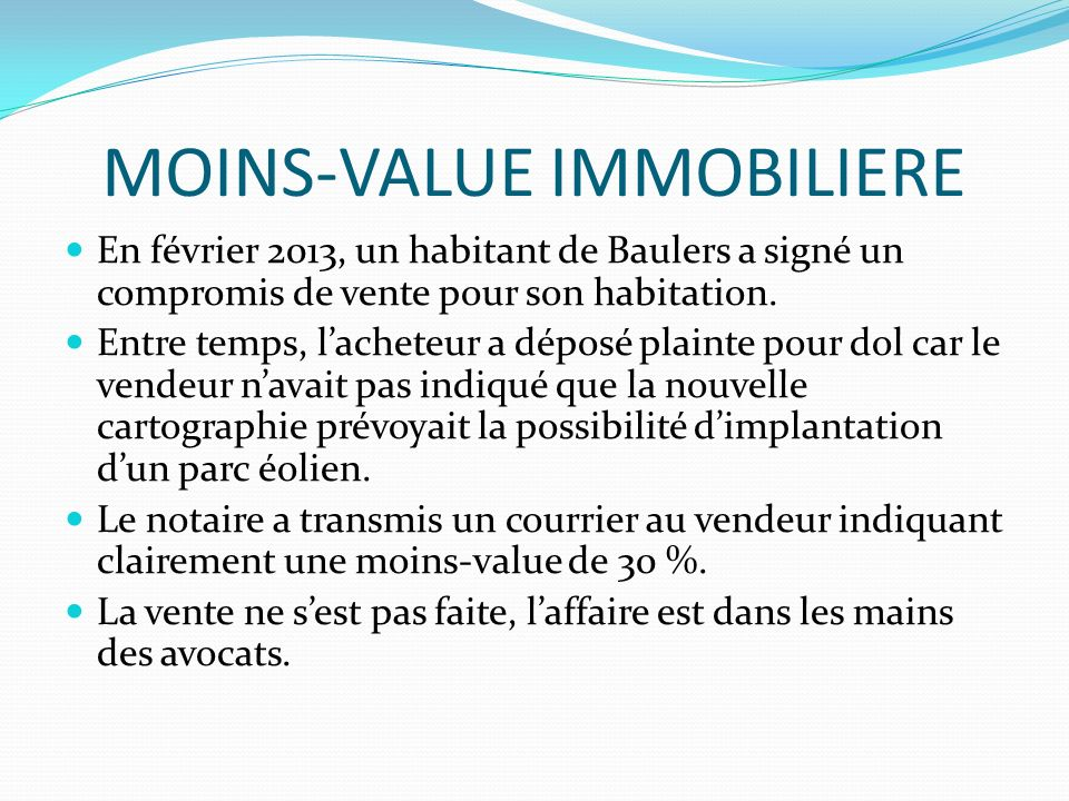 MOINS-VALUE IMMOBILIERE