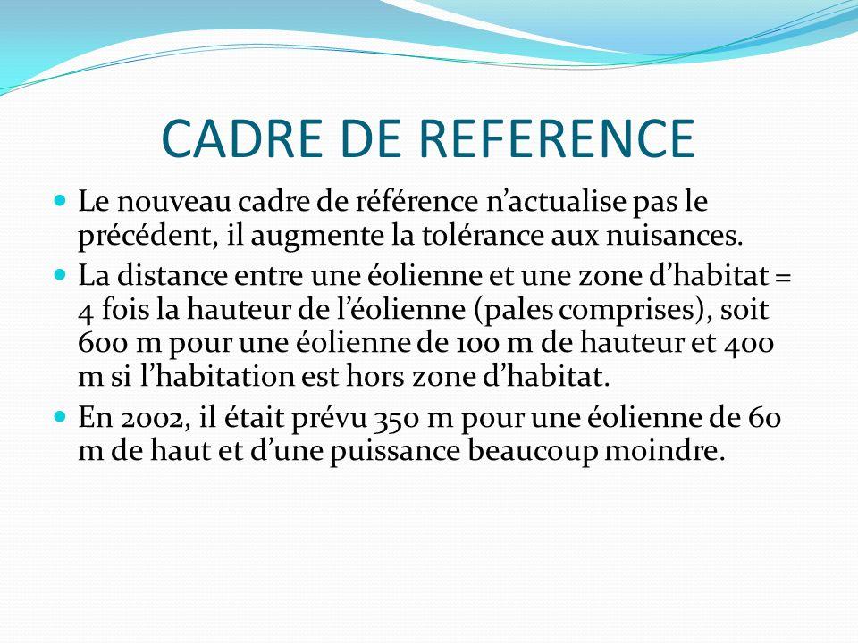 CADRE DE REFERENCE Le nouveau cadre de référence n'actualise pas le précédent, il augmente la tolérance aux nuisances.