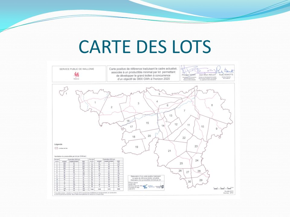 CARTE DES LOTS