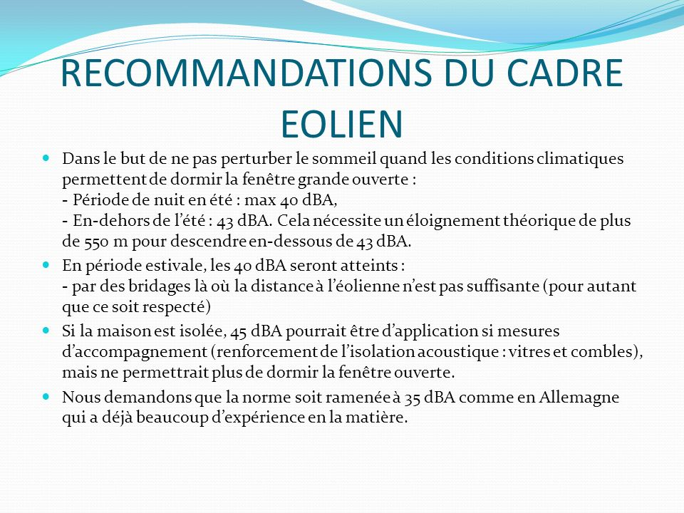 RECOMMANDATIONS DU CADRE EOLIEN
