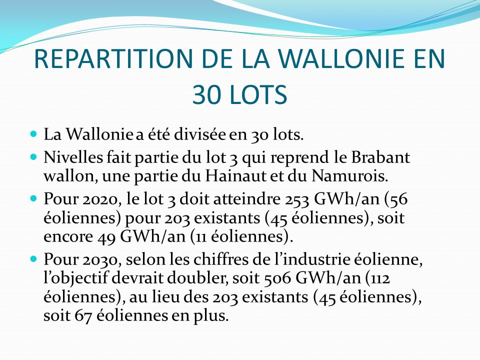 REPARTITION DE LA WALLONIE EN 30 LOTS