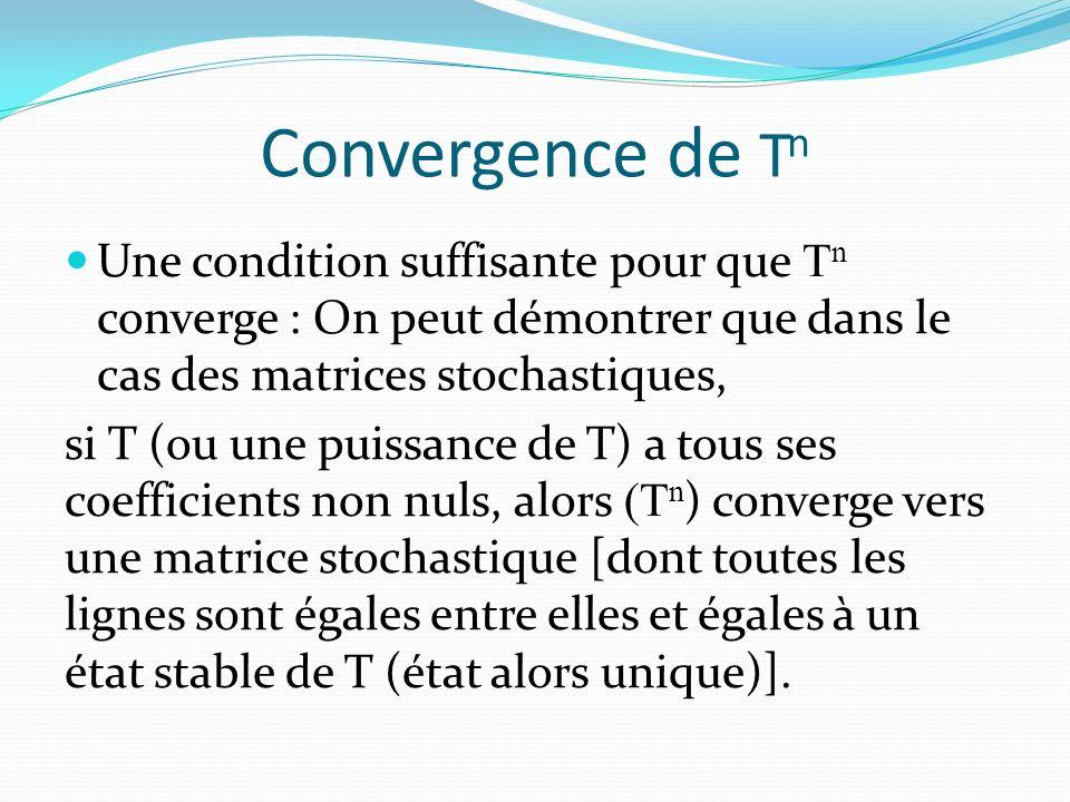 Convergence de Tn Une condition suffisante pour que Tn converge : On peut démontrer que dans le cas des matrices stochastiques,