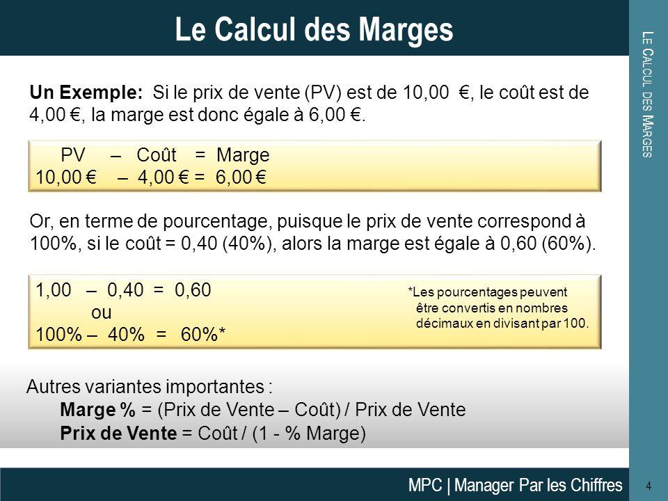 Le Calcul des Marges Le Calcul des Marges.