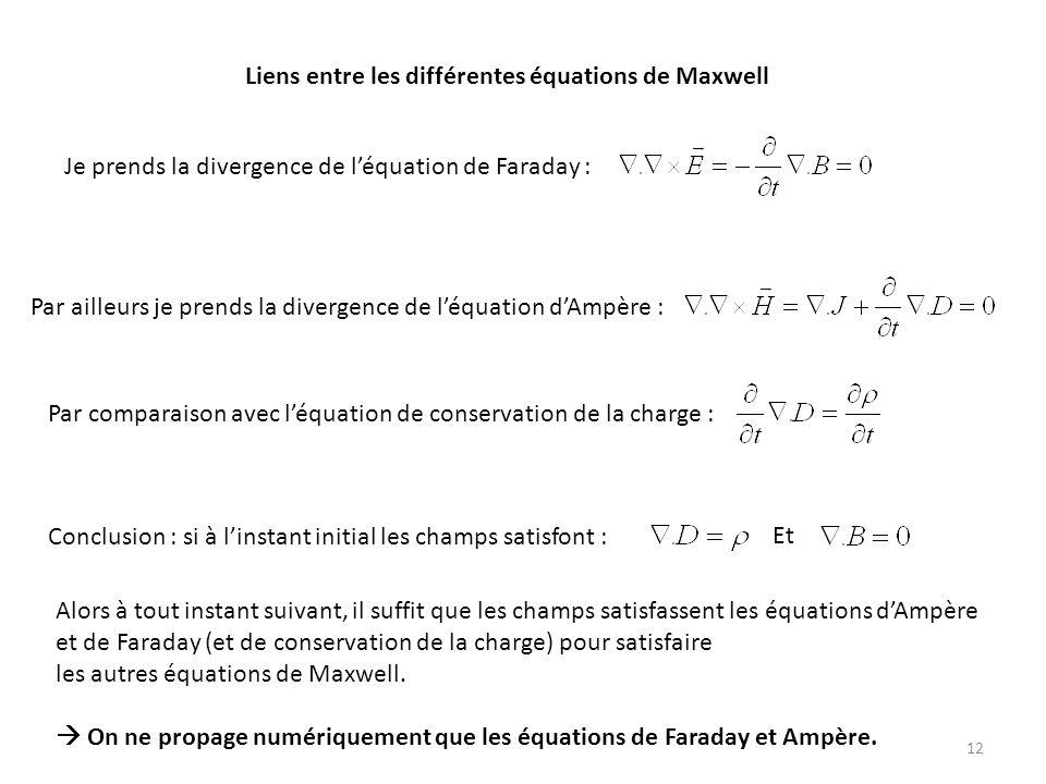 Liens entre les différentes équations de Maxwell