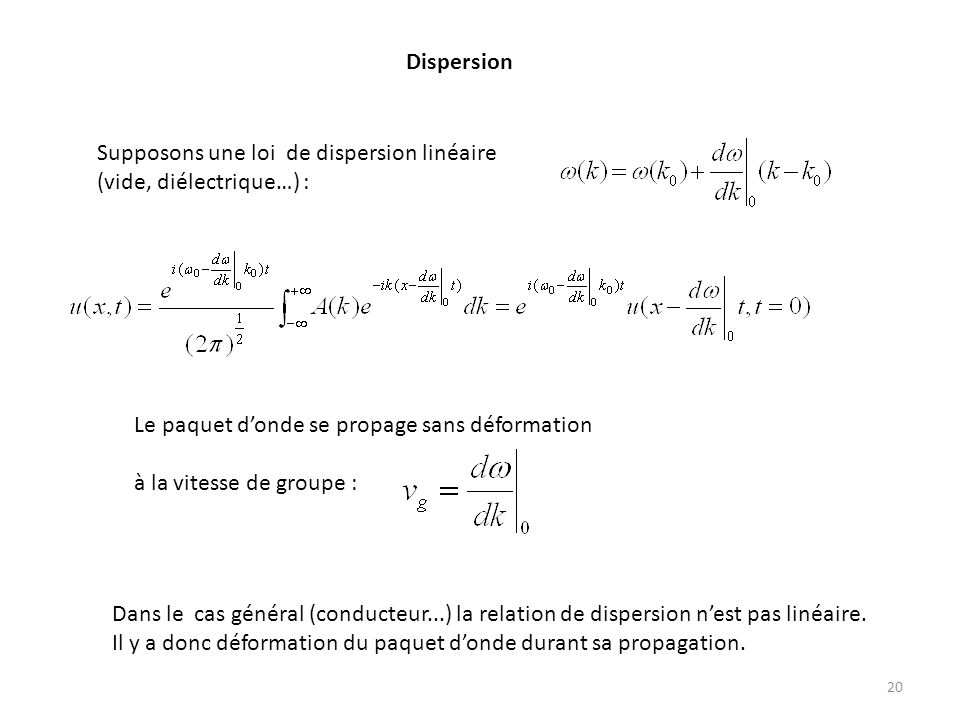 Dispersion Supposons une loi de dispersion linéaire. (vide, diélectrique…) : Le paquet d'onde se propage sans déformation.
