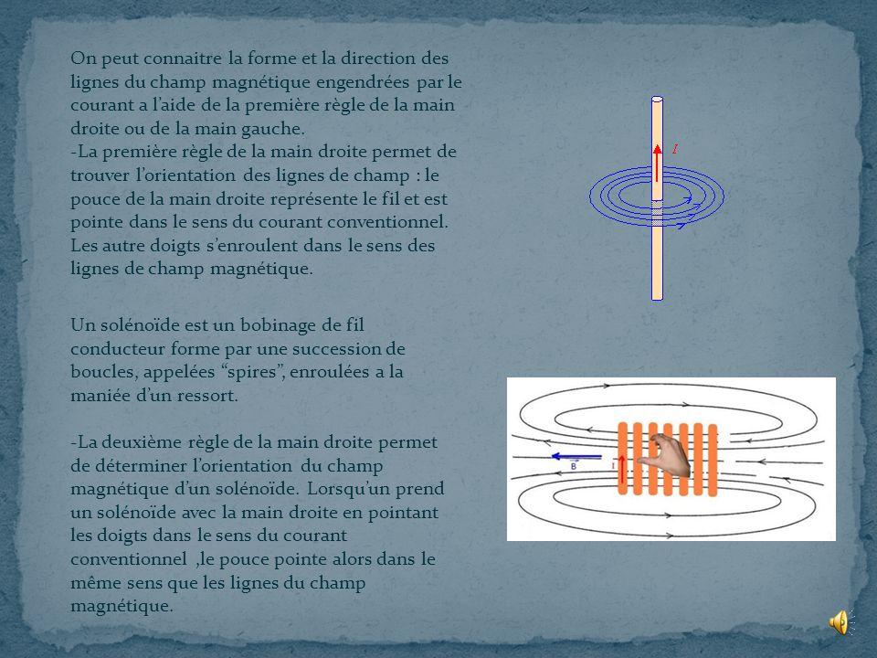 On peut connaitre la forme et la direction des lignes du champ magnétique engendrées par le courant a l'aide de la première règle de la main droite ou de la main gauche. -La première règle de la main droite permet de trouver l'orientation des lignes de champ : le pouce de la main droite représente le fil et est pointe dans le sens du courant conventionnel. Les autre doigts s'enroulent dans le sens des lignes de champ magnétique.