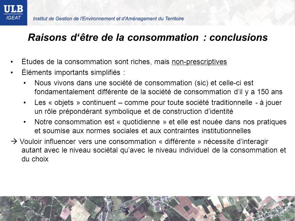 Raisons d'être de la consommation : conclusions