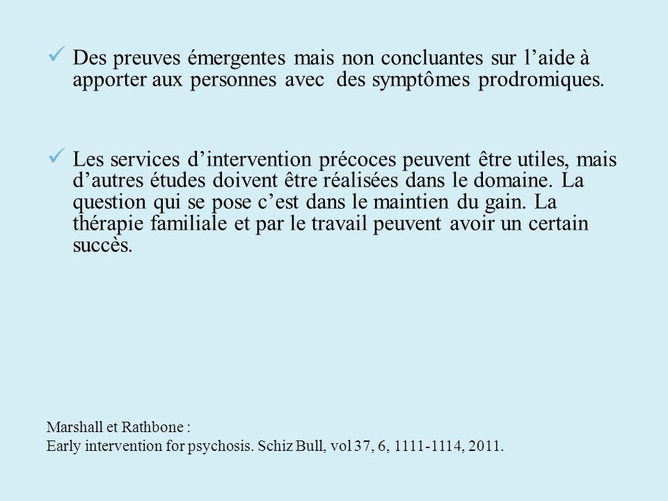 Des preuves émergentes mais non concluantes sur l'aide à apporter aux personnes avec des symptômes prodromiques.