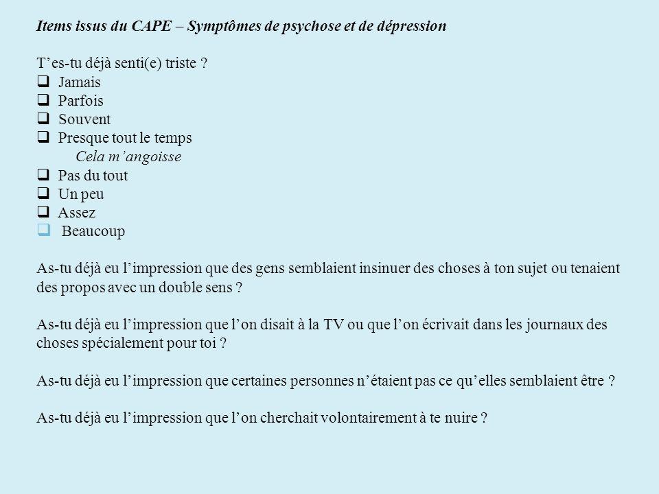 Items issus du CAPE – Symptômes de psychose et de dépression