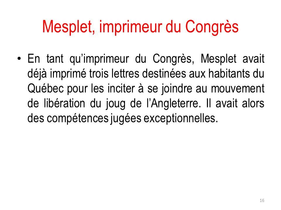 Mesplet, imprimeur du Congrès