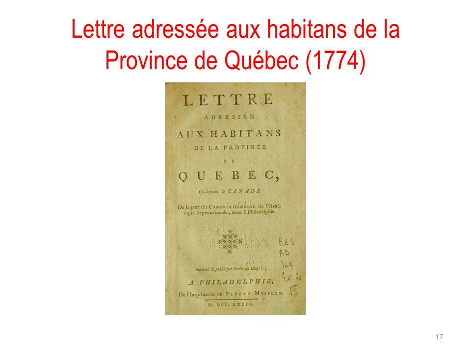 Lettre adressée aux habitans de la Province de Québec (1774)