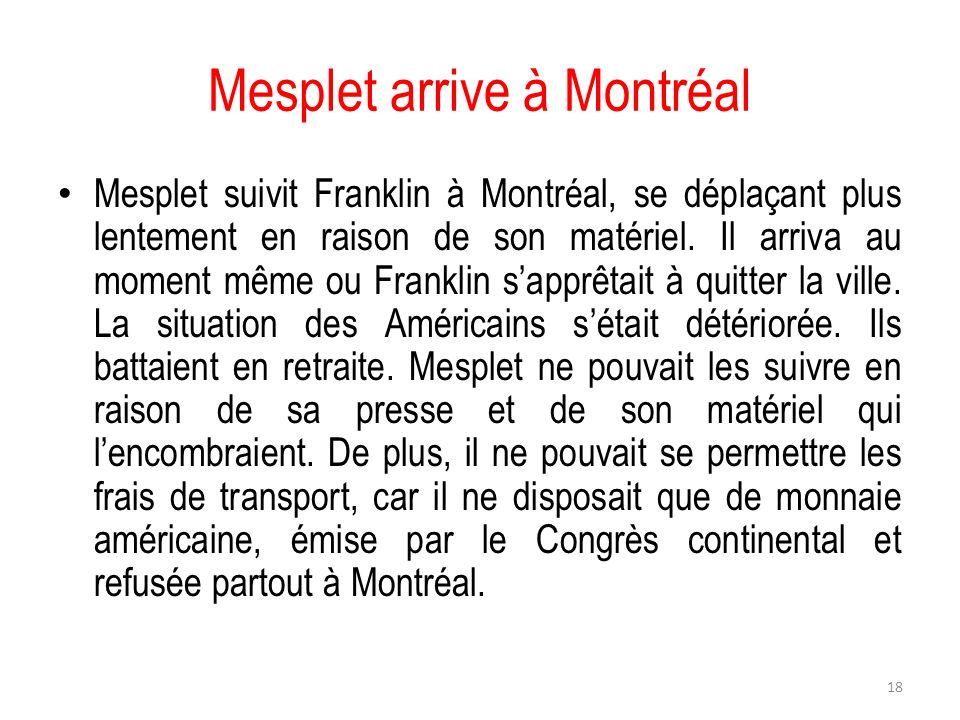 Mesplet arrive à Montréal