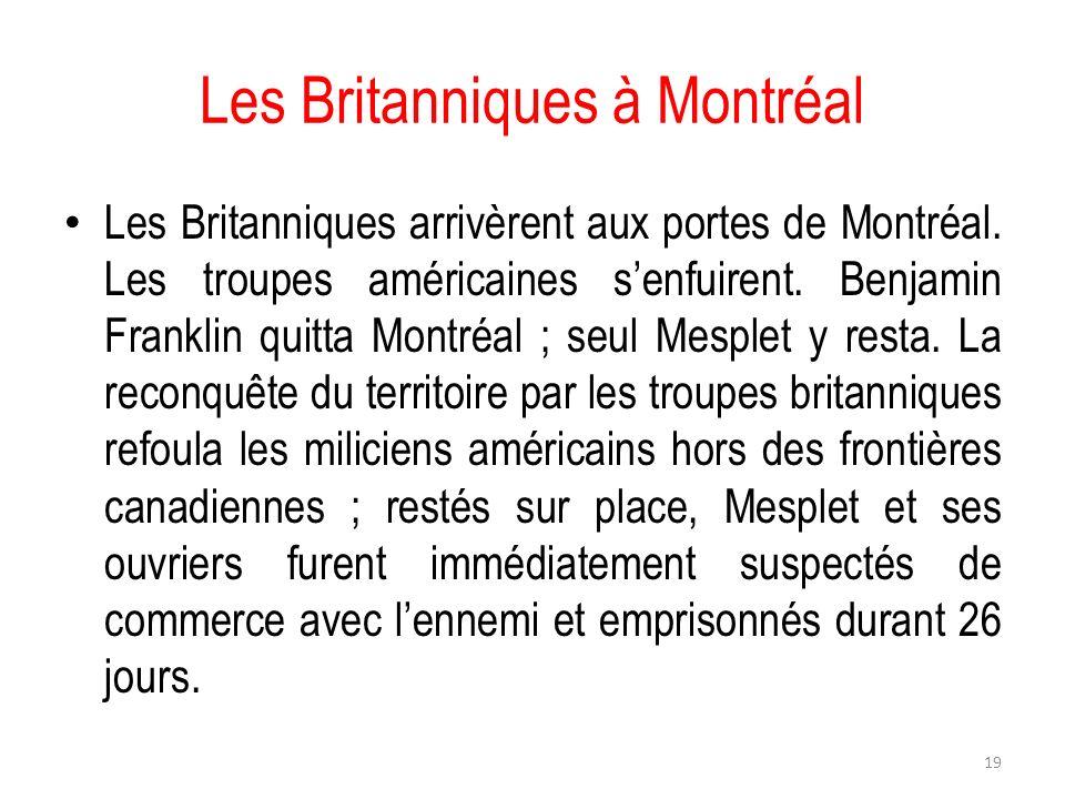 Les Britanniques à Montréal