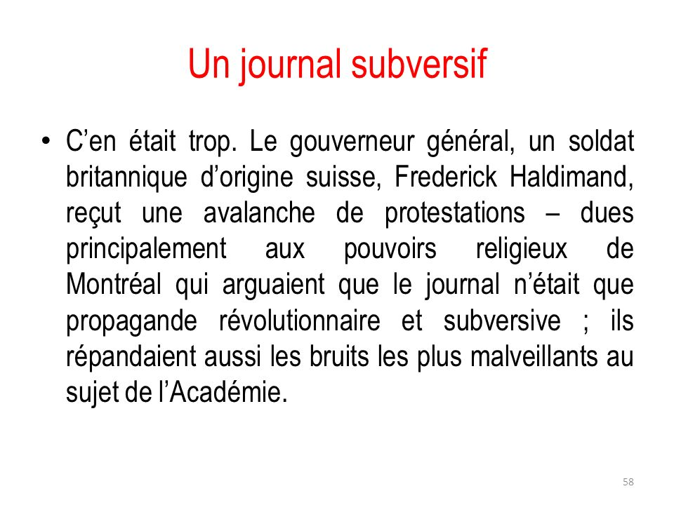 Un journal subversif