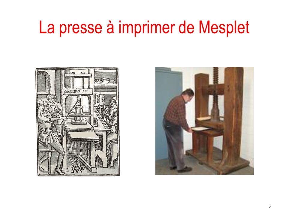 La presse à imprimer de Mesplet