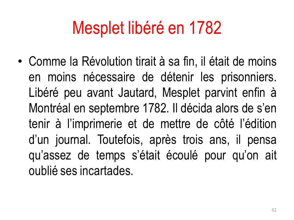 Mesplet libéré en 1782
