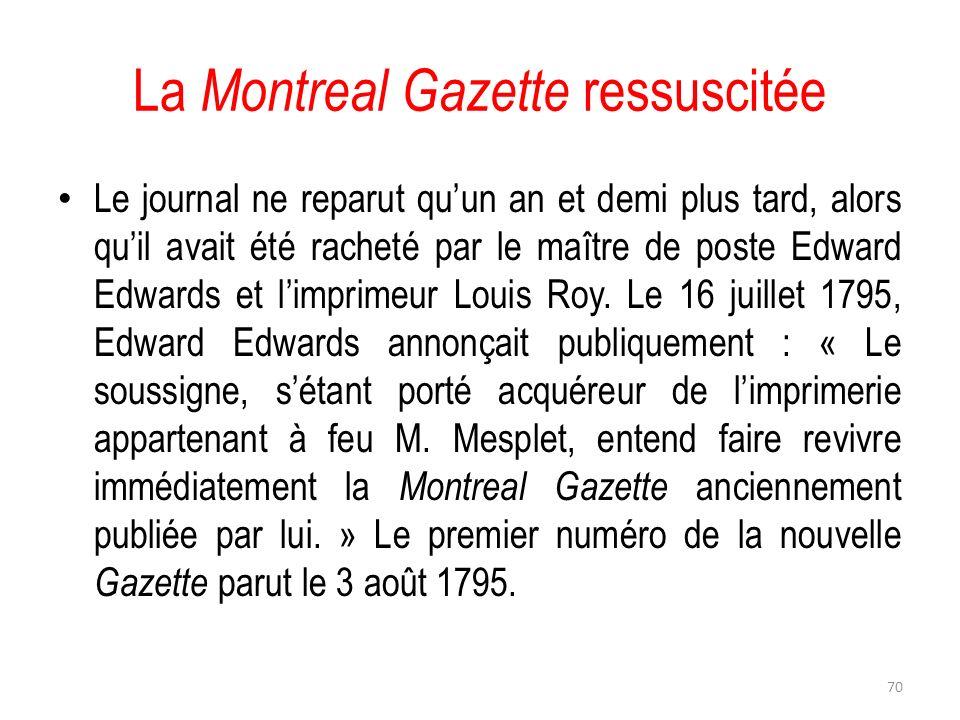 La Montreal Gazette ressuscitée
